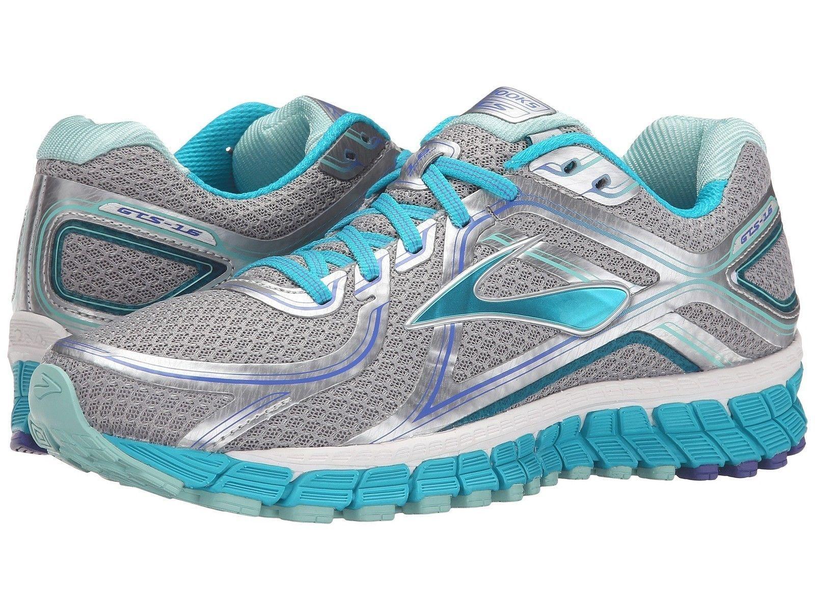 bdd864beef7 Womens Brooks Adrenaline GTS 16 Running Shoes Silver Bluebird BlueTint Wide  D