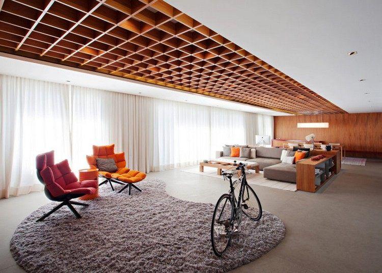 Plafond à caisson en bois massif  la star d\u0027un appartement de luxe