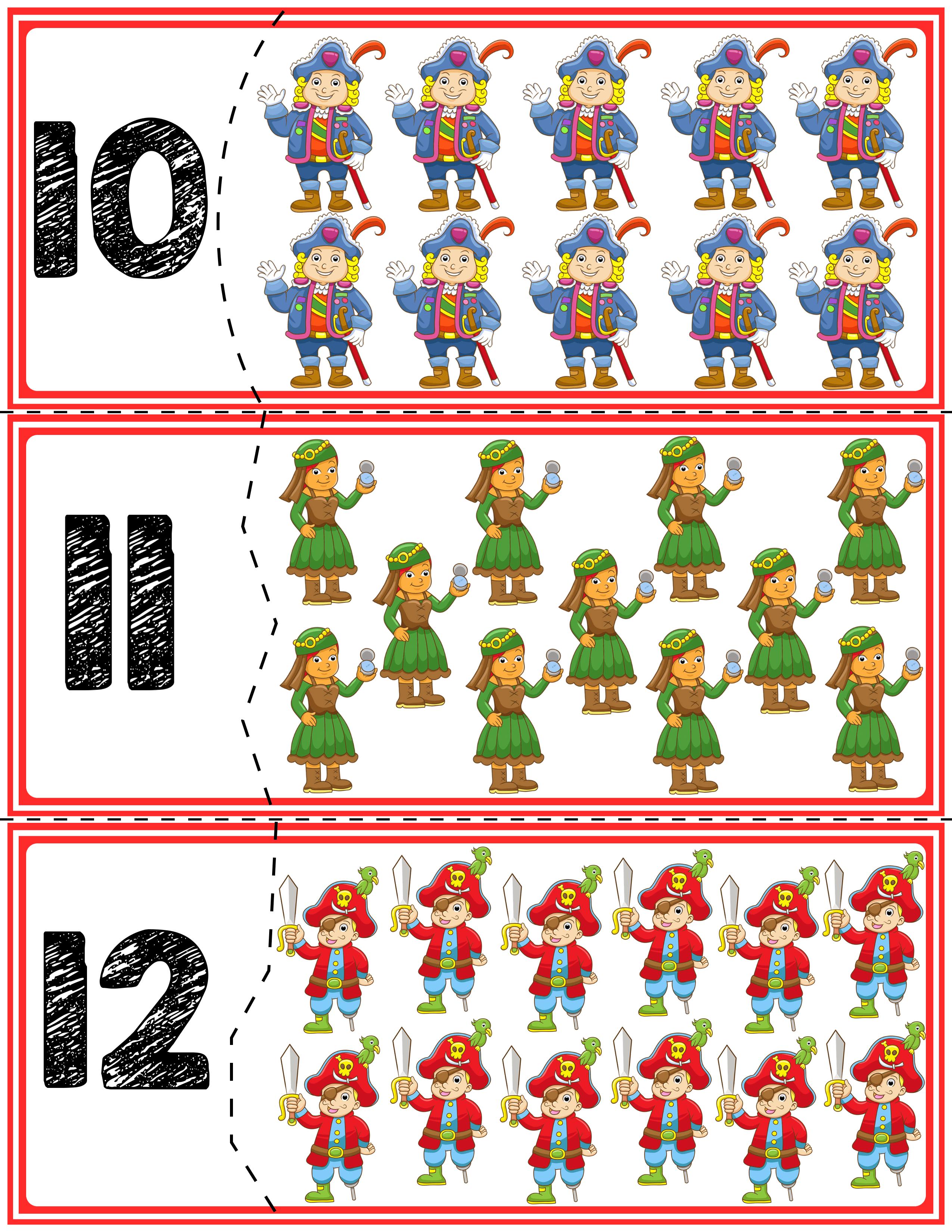 Pirate Self Correcting Quantity Puzzles