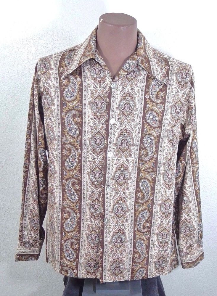 Vintage 70's Disco Paisley Floral Men's Shirt Brown Long Sleeve Patrick James L