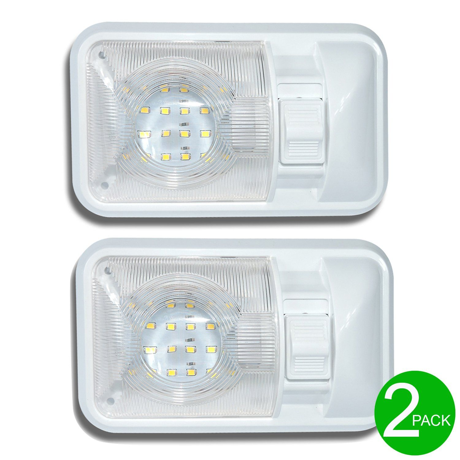 Leisure Led 2 Pack 12v Led Rv Ceiling Dome Light Rv Interior Lighting For Trailer Camper With Switch Single Dome Porch Lighting Rv Led Lights Led Porch Light