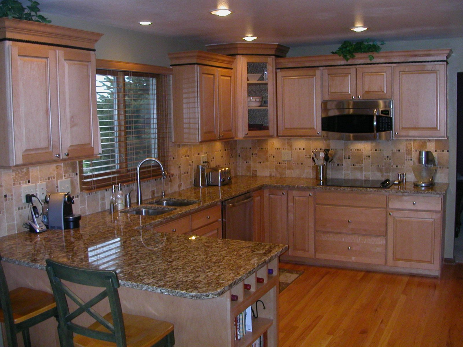 Remodeled Kitchen in natural maple cabinets | Kitchen ... on Backsplash For Maple Cabinets  id=77384
