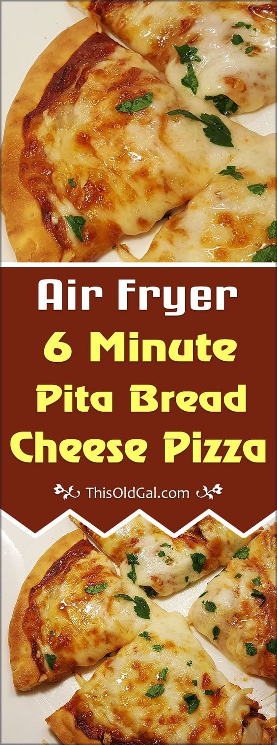 Air Fryer 6 Minute Pita Bread Cheese Pizza with Pepperoni