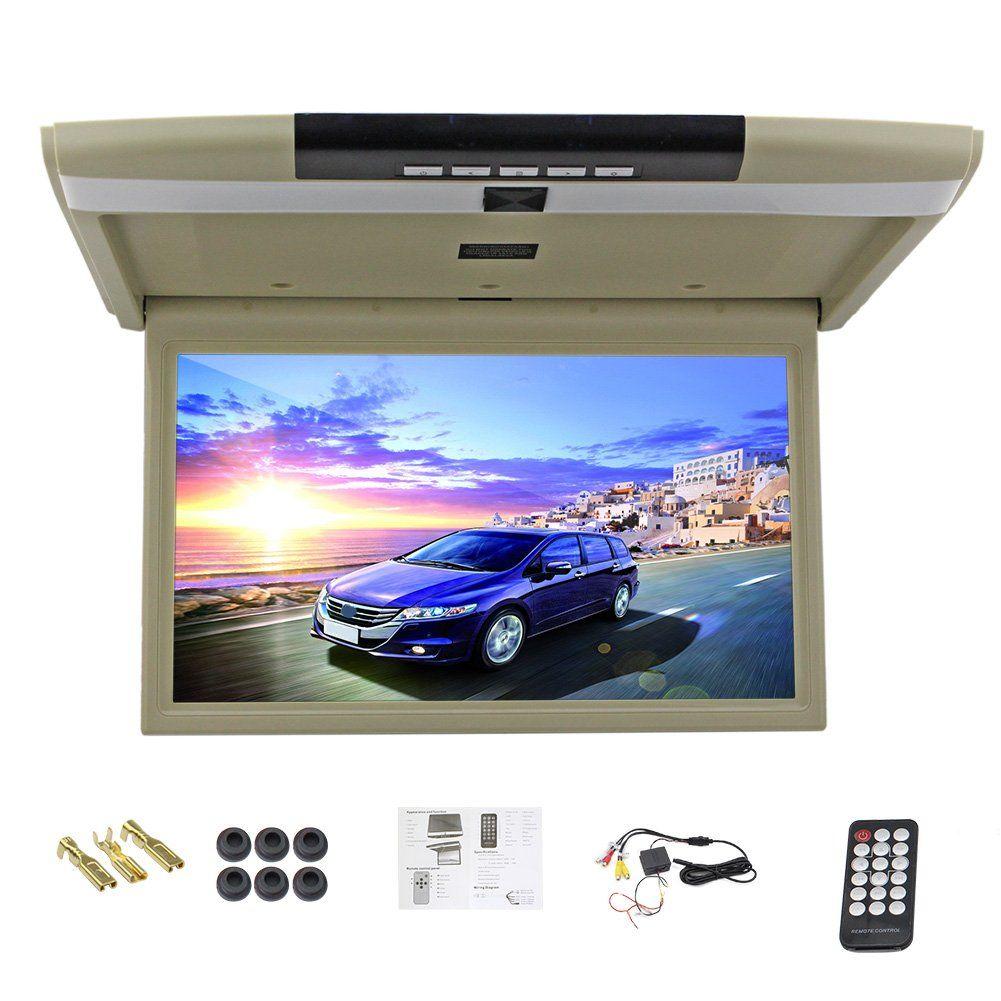 Monitor Roof Car Mount Flip Down Lcd Tft 32GB 1080p FHD USB FM Remote 15 6 Inch