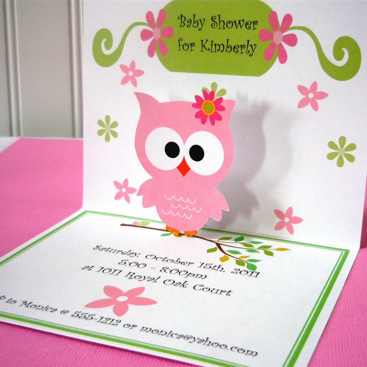 Owl invitations pop up used for first birthday or baby showers