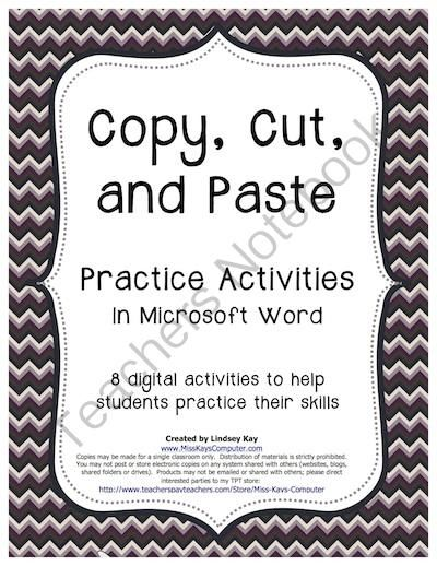 Copy, Cut and Paste Practice Exercises (in Word) from Miss