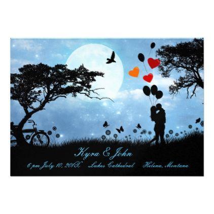 #wedding - #Scenic Love Under the Moon Simple Wedding Card