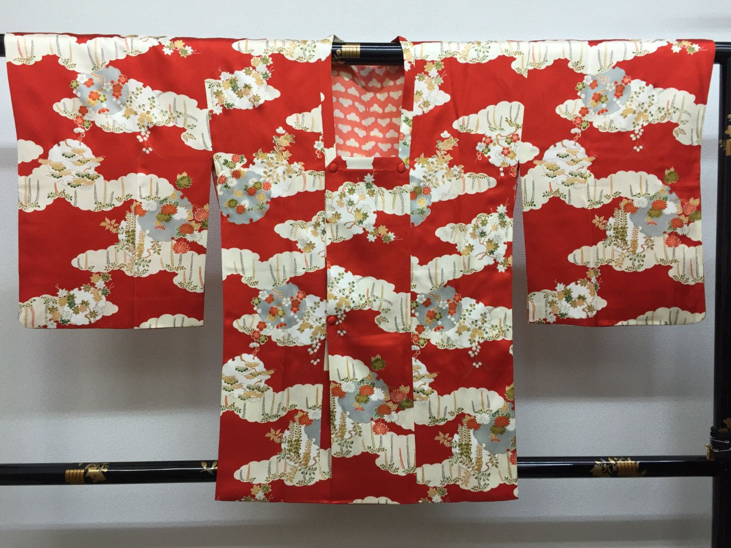 "Michiyuki Kimono coat ""fourseason's flowers in snow circle""  very cute kawaii…"