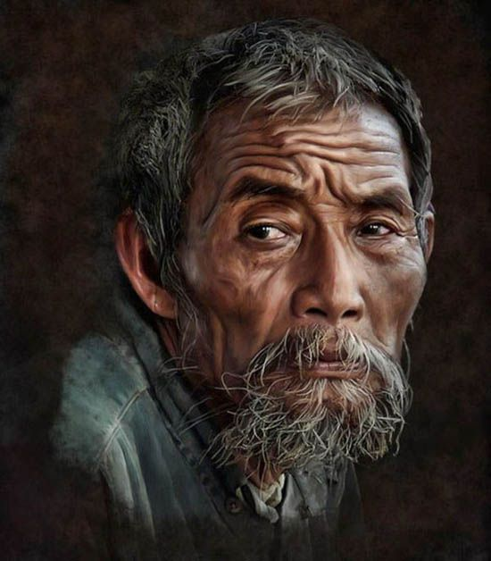 Asian man lighting cigarette oil painting