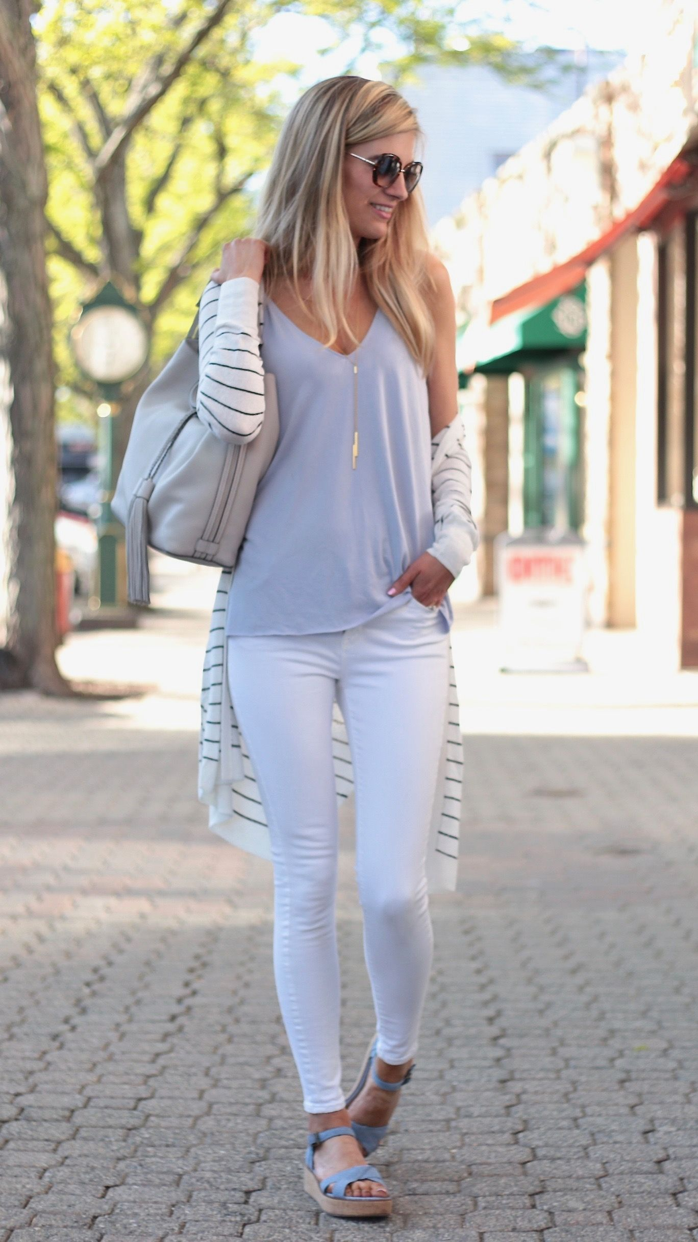 5c10da54d053 Summer Outfit Ideas with a Long Striped Cardigan Connecticut life and style  blogger