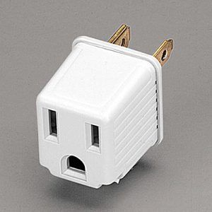 Three Prong Grounded Plug Adapter For A Two Prong Wall Outlet