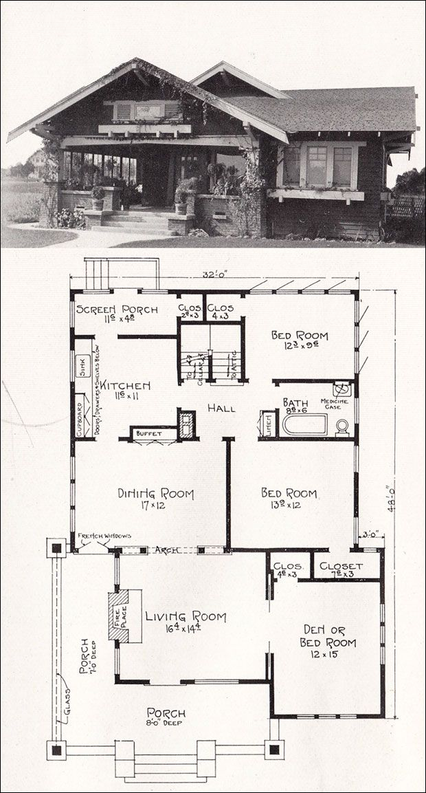 1918 Bungalow House Plan by E W Stillwell Los Angeles Craftsman Home