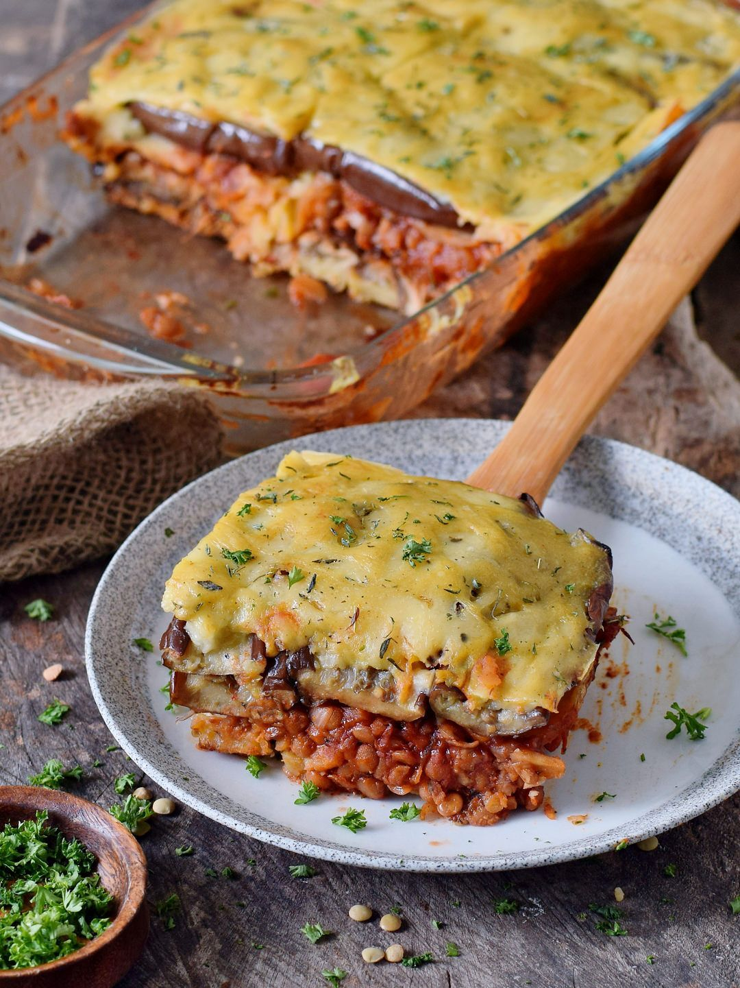 moussaka with lentils and eggplant! This popular Greek dish can be easily made without meat and still tastes amazing. This healthy casserole is a wonderful comfort meal which is flavorful, satisfying, and very enjoyable. The recipe is plant-based, gluten-free, and fairly easy to make! |