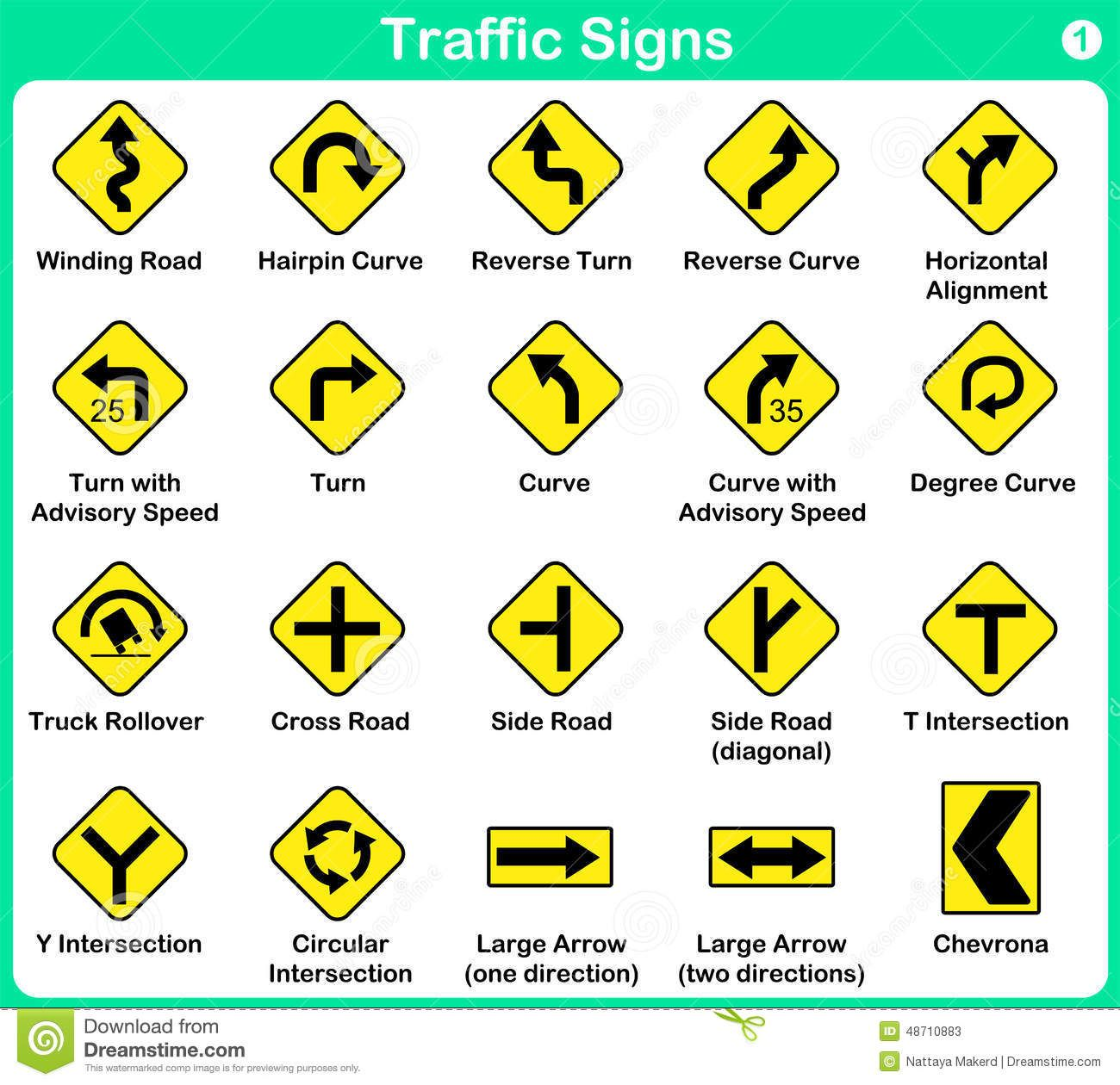 Illustration About Traffic Sign Collection Warning Road Signs Illustration Of Danger Highway Drive 48710883 Traffic Signs Road Signs Road Safety Signs