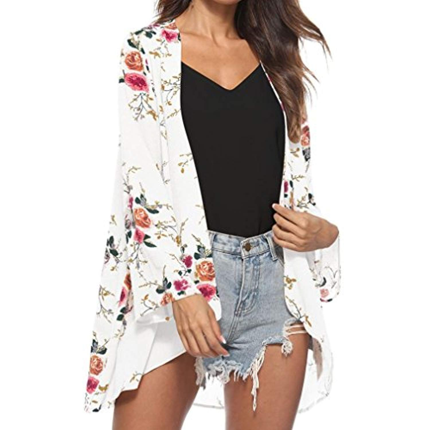 f60f1723b41db Women's Floral Print Sheer Chiffon Loose Kimono Long Blouse Loose Beach  Cover up *** You can find out more details at the link of the image.