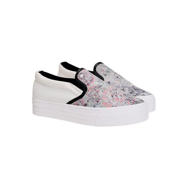 SheIn(sheinside) White Thick-soled Floral Casual Flats (€25) ❤ liked on Polyvore