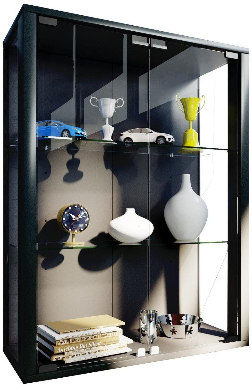 Hangende Vitrinekast Met Verlichting.Stijlvolle Zwarte Vitrinekast Met Glazen Deuren En Verstelbare