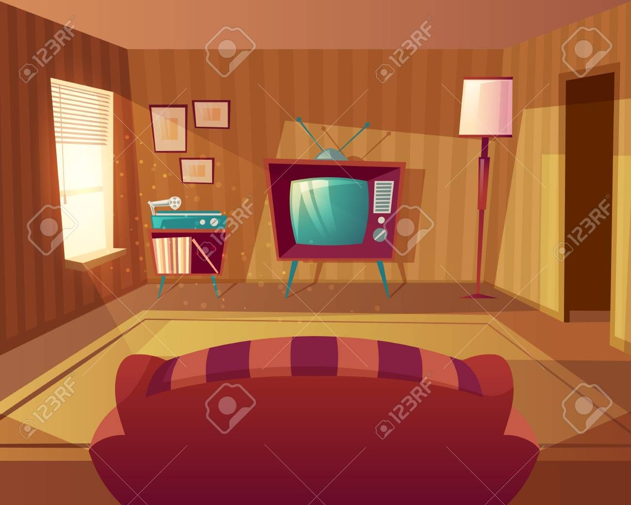 Vector Illustration Of Cartoon Living Room Front View From Sofa