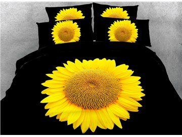 Bright Yellow Sunflower Printed Cotton 3D 4-Piece Black Bedding Sets/Duvet Covers #sunflowerbedroomideas