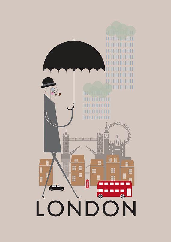 004 London City Print A4/A3/A2 poster wall art decor retro