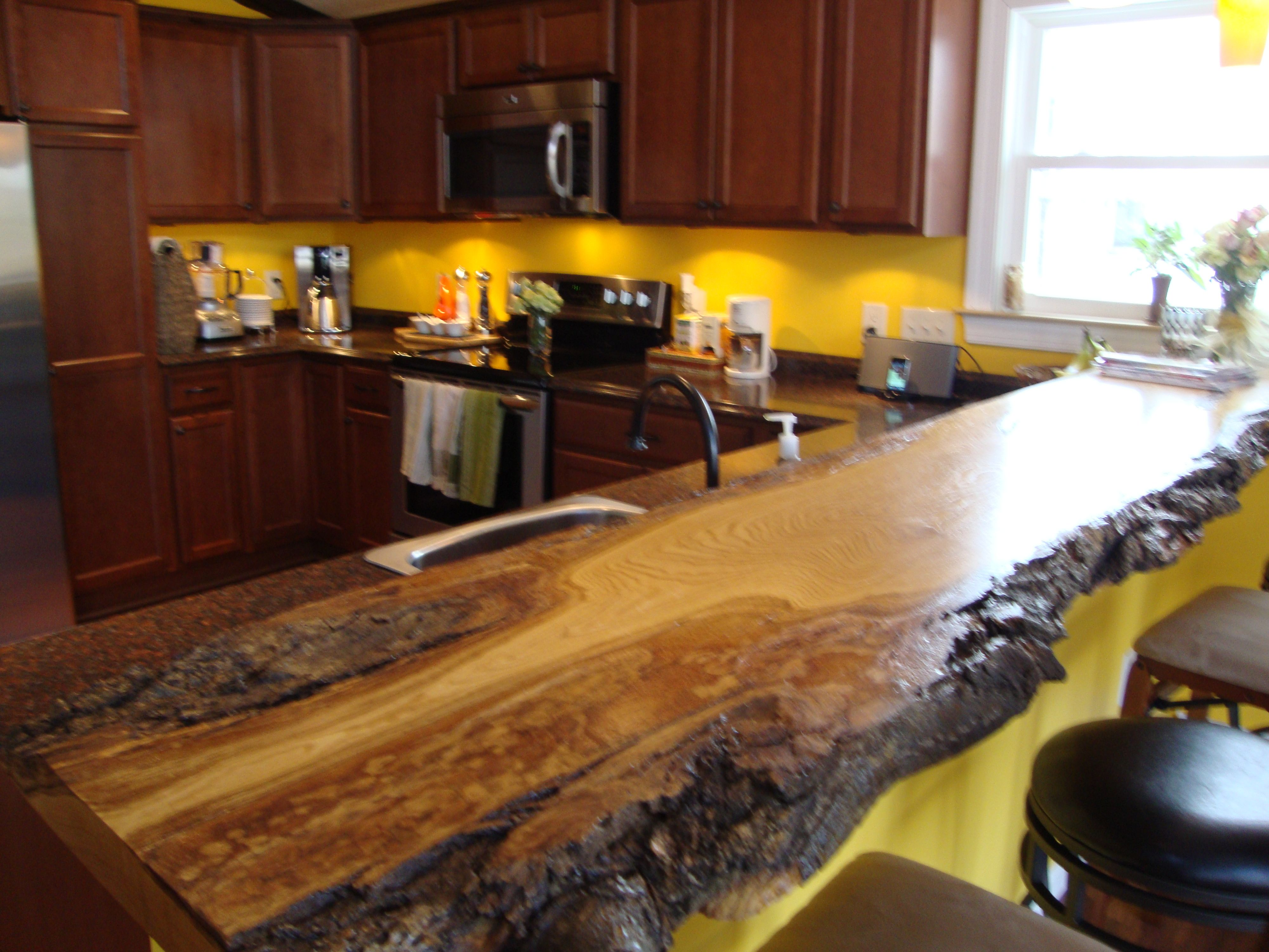 American Chestnut Slab With The Bark Kiln Dried To 13 With Waterlox Satin Finish Wood Countertops Furniture Projects Kitchen