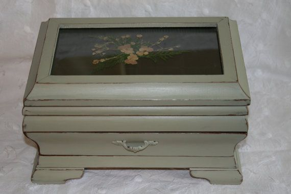 Sage Green Shabby Chic Jewelry Box -  Wooden Jewelry Box with Black Velvet Lining