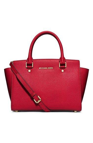 dfb6b3d47aaa28 Michael Michael Kors Selma Medium Clementine Saffiano Leather Satchel Bag,  Women's, Gold Black Strappy