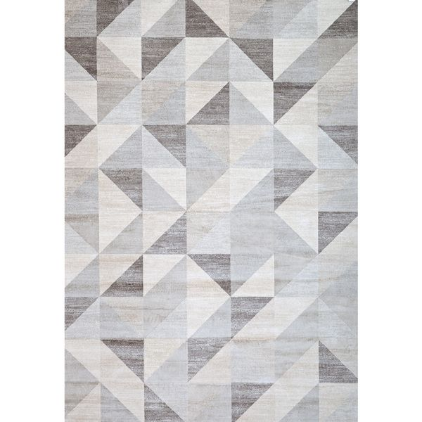 Short PILE CARPET Grey and Beige obsidia6100 Textured 3D Geometric Design