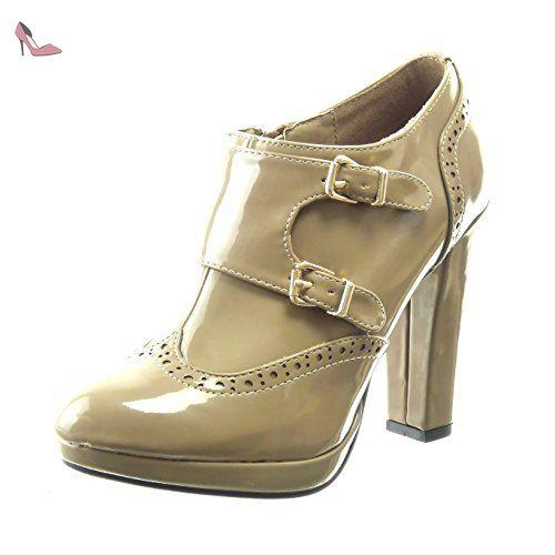 908651d3aa75 Sopily - Chaussure Mode Bottine low boots plateforme Cheville femmes boucle  brillant perforée Talon haut bloc