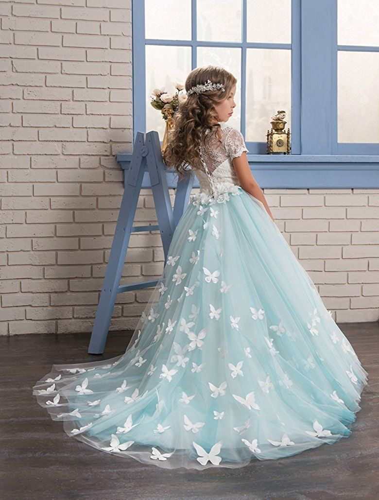 bdcd5d8d790 Aprildress Stunning Lace White Blue Flower Girl Dresses with Butterfly Girls   Pageant Dress MFD120