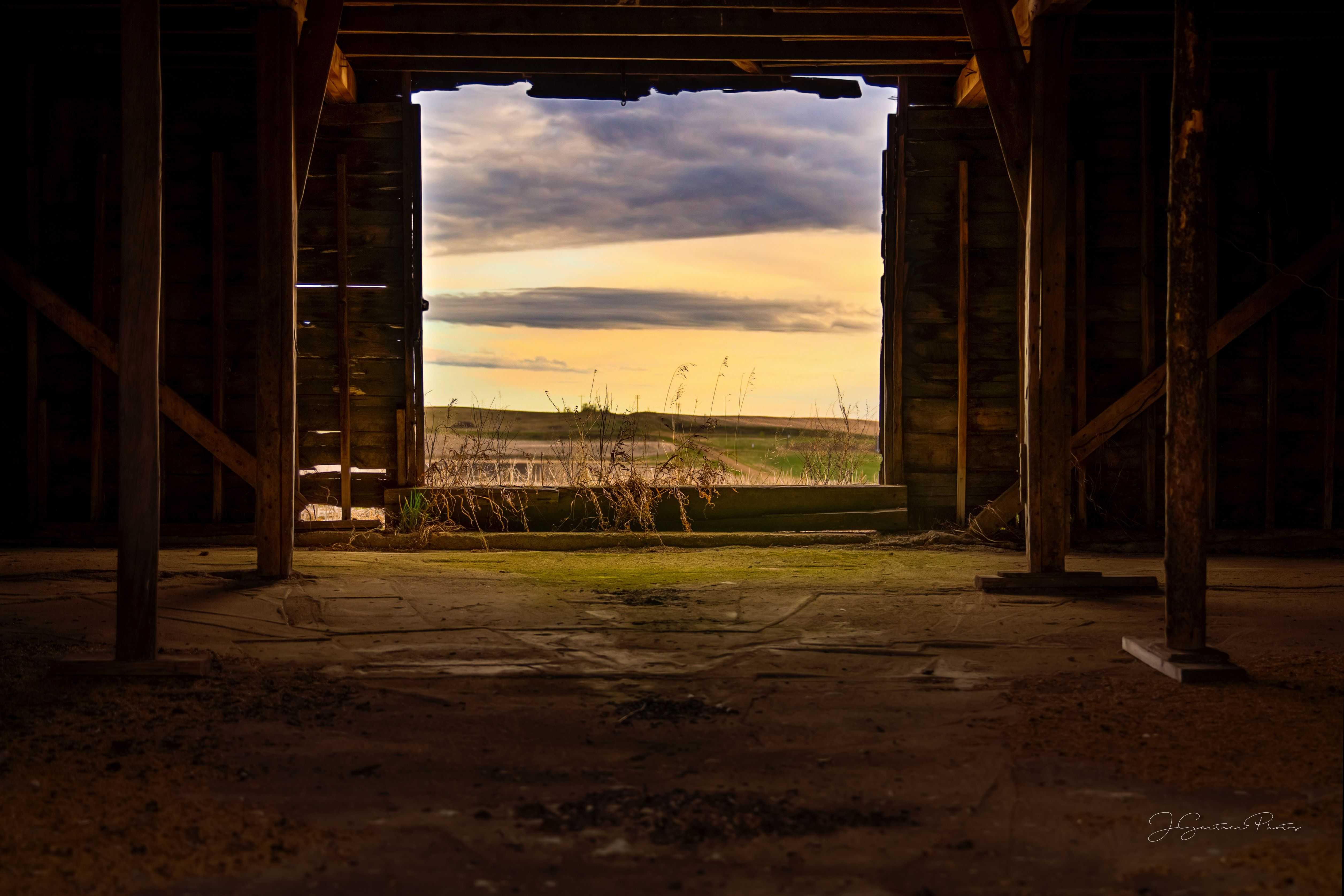 Seeing Rural Landscape Through The Barn Door Photography Window