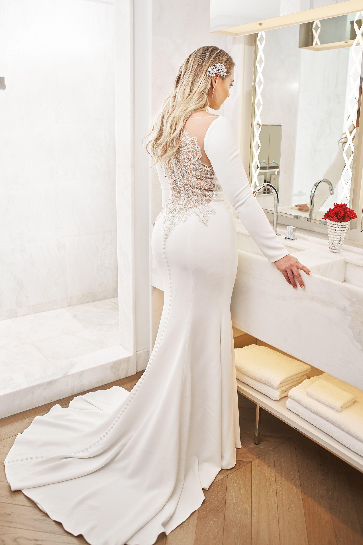 Style 8936 Crepe Long Sleeve Wedding Dress with Beaded