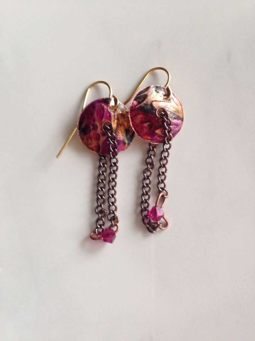 Hand cut, textured bead cap earrings