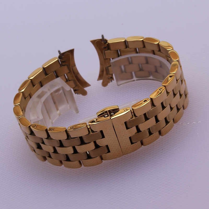 26.01$  Watch here - http://alipg5.shopchina.info/go.php?t=32734142030 - Gold Black metal Watch Band Strap stainless steel watchbands Wristwatch Bracelet 16mm18mm20mm22mm24mm Curved end accessories new  #aliexpressideas