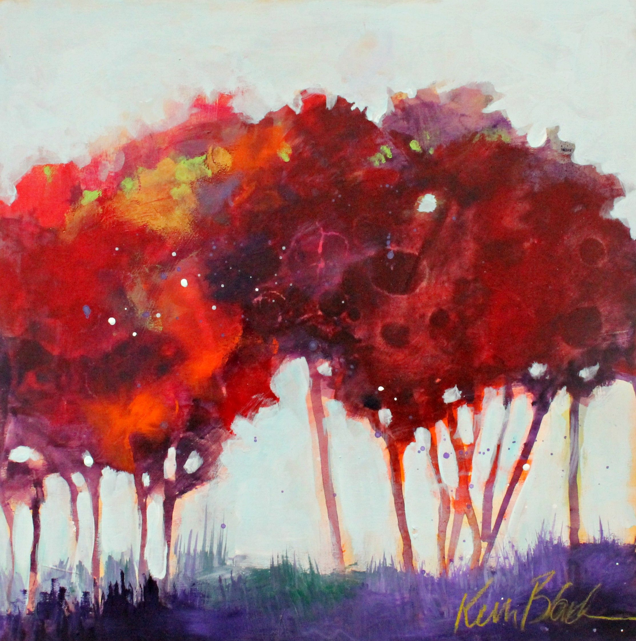 Fall Colors Abstract Trees Original Landscape Painting Loose Bold Autumn Quiet By Kerri Blackman Fall Tree Painting Art Abstract Tree Painting