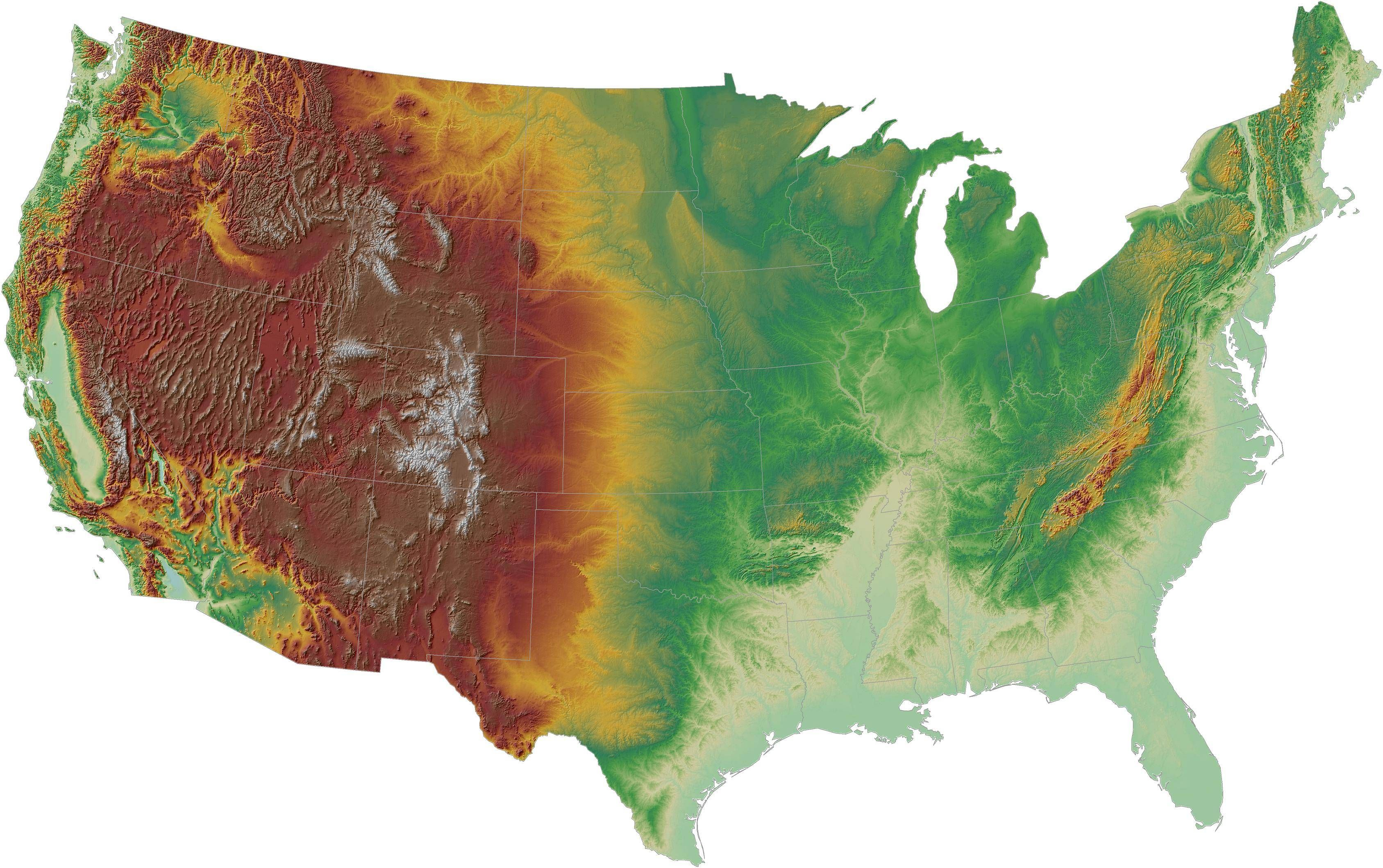 Digital Elevation Model Of The Contiguous United States Digital - Us map elevation