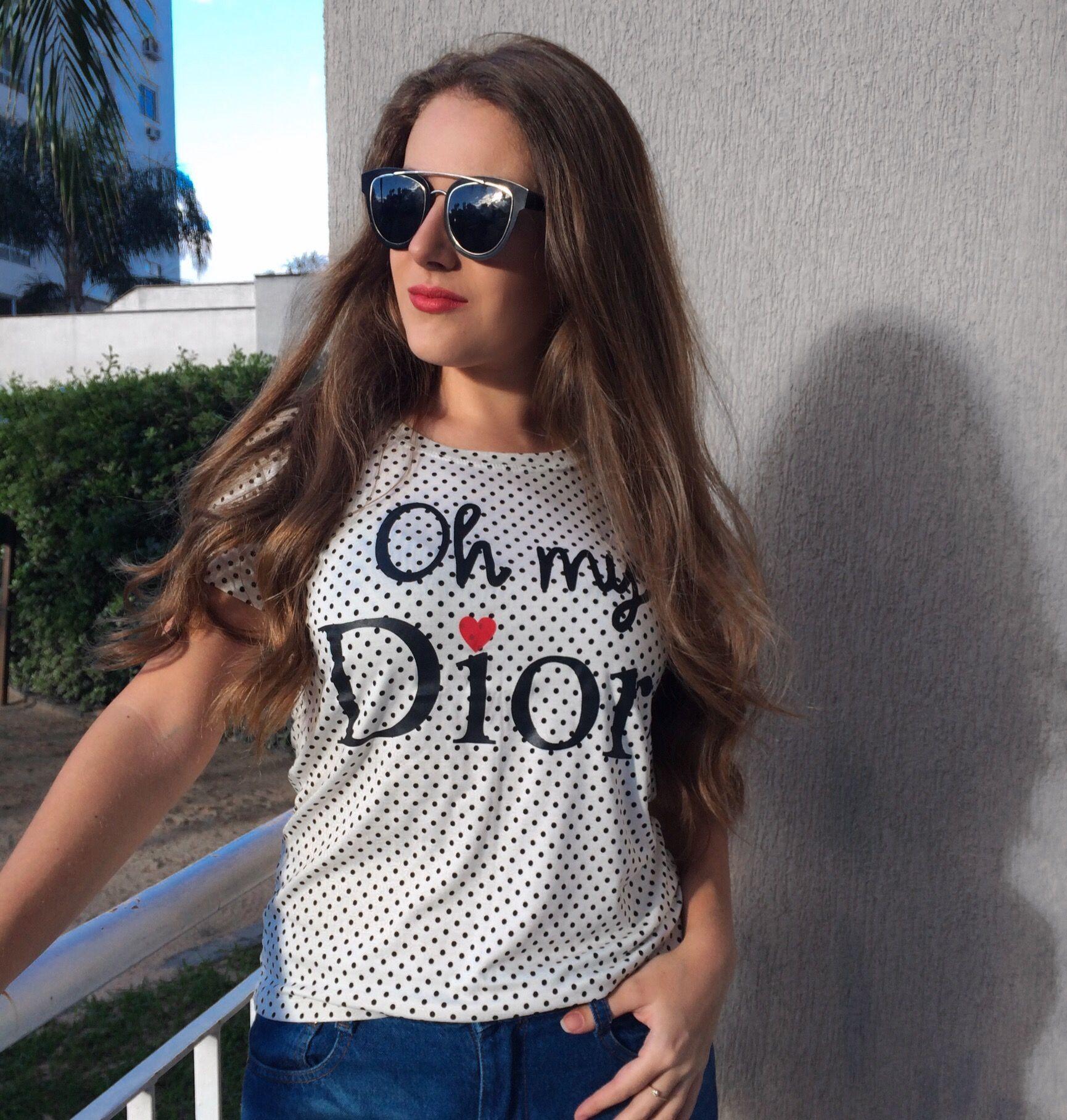 70d23151b606e Onde comprar Camisetas femininas estampa poá Oh my Dior! baratas  R ...