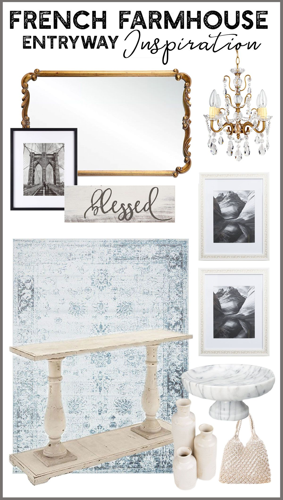 Design elements come together in this mood board for a Traditional French Farmhouse entryway / foyer. #modernfarmhouse #traditionalfarmhouse #frenchfarmhouse #frenchstyle #entryway #foyer #moodboard #designelements #camitidbits #interiordesigner