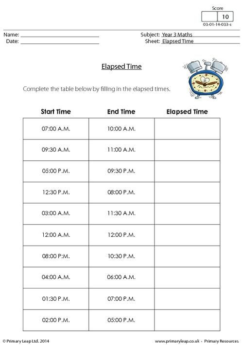 PrimaryleapCoUk  Elapsed Time Chart Worksheet  Maths Printable