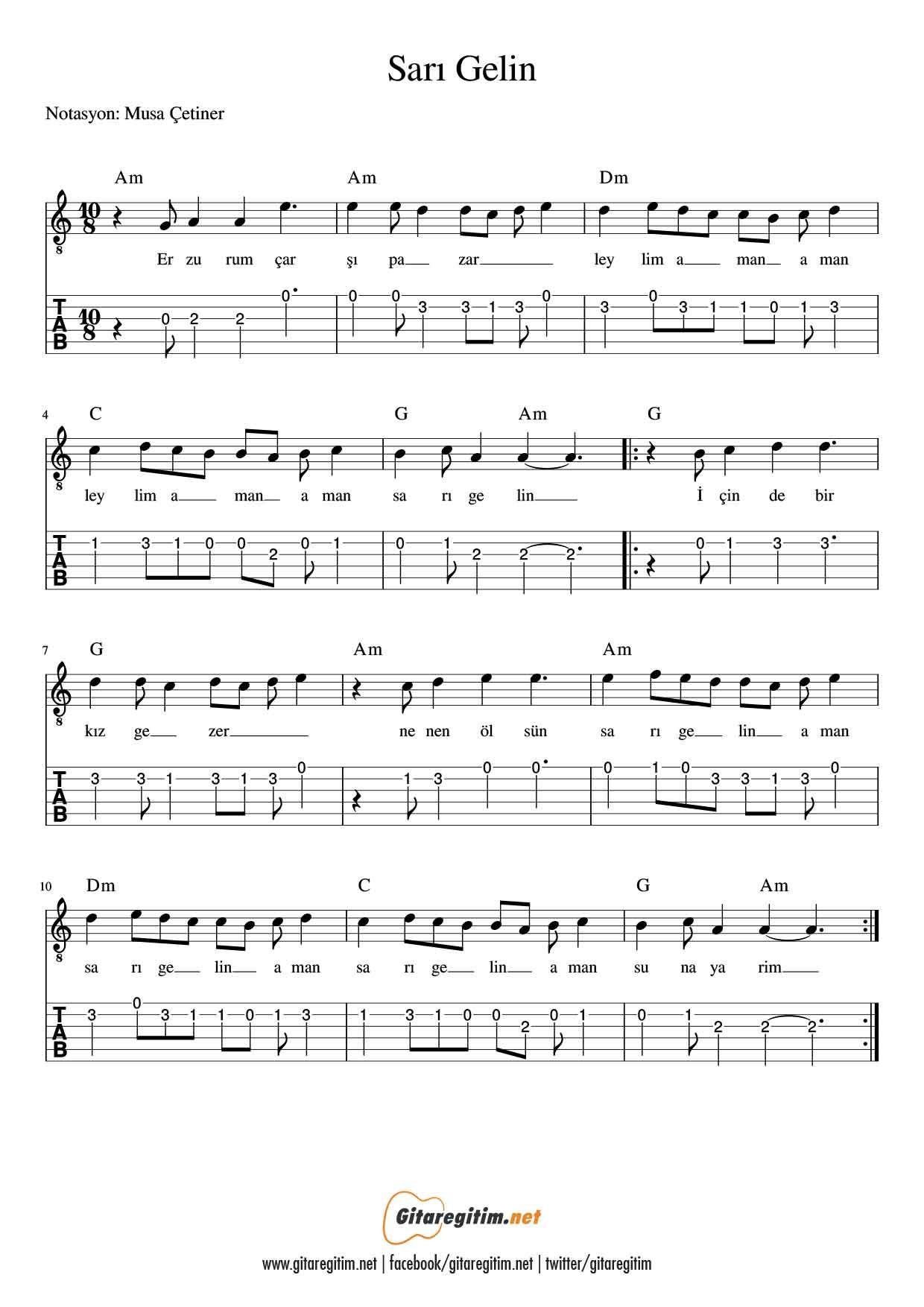 Sari Gelin Gitar Nota Tab Gitaregitim Net Sarisin Gelin Ucretsiz Notalar Notalara Dokulmus Muzik