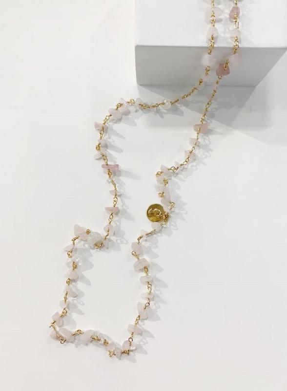 770ea2c06e2f05 Bcharmd Mia Rose Quartz Necklace Gold - Sophisticato Jewellery