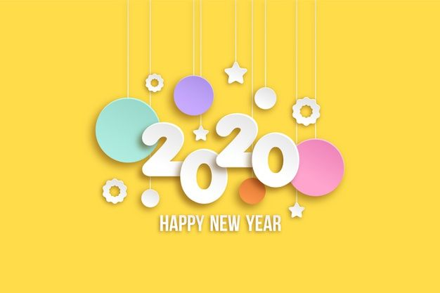 Download New Year 2020 Wallpaper In Paper Style for free