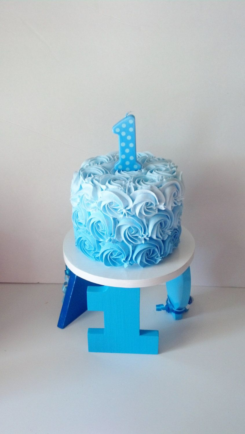 Boys Blue Ombre First Birthday Fake Smash Cake and Wooden