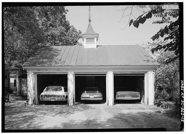 13.  May 1985. EAST FACADE OF GARAGE (connected to north wing of house by porte cochere and breezeway) - Borough House, West Side State Route 261, about .1 mile south side of junction with old Garners Ferry Road, Stateburg, Sumter County, SC