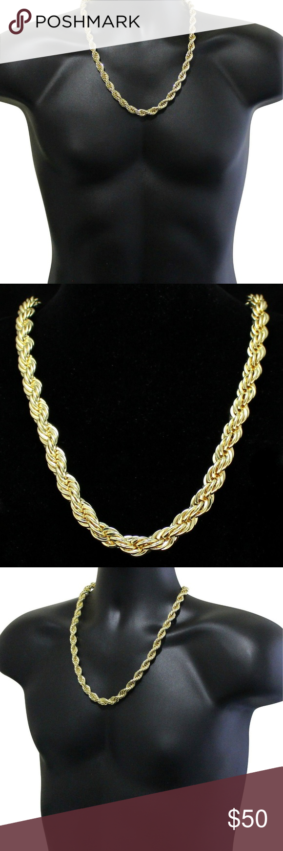 Mens 24 New 14k Gold Plated 10m Thick Rope Chain 14k Gold Plated Solid Necklace Chains For Men