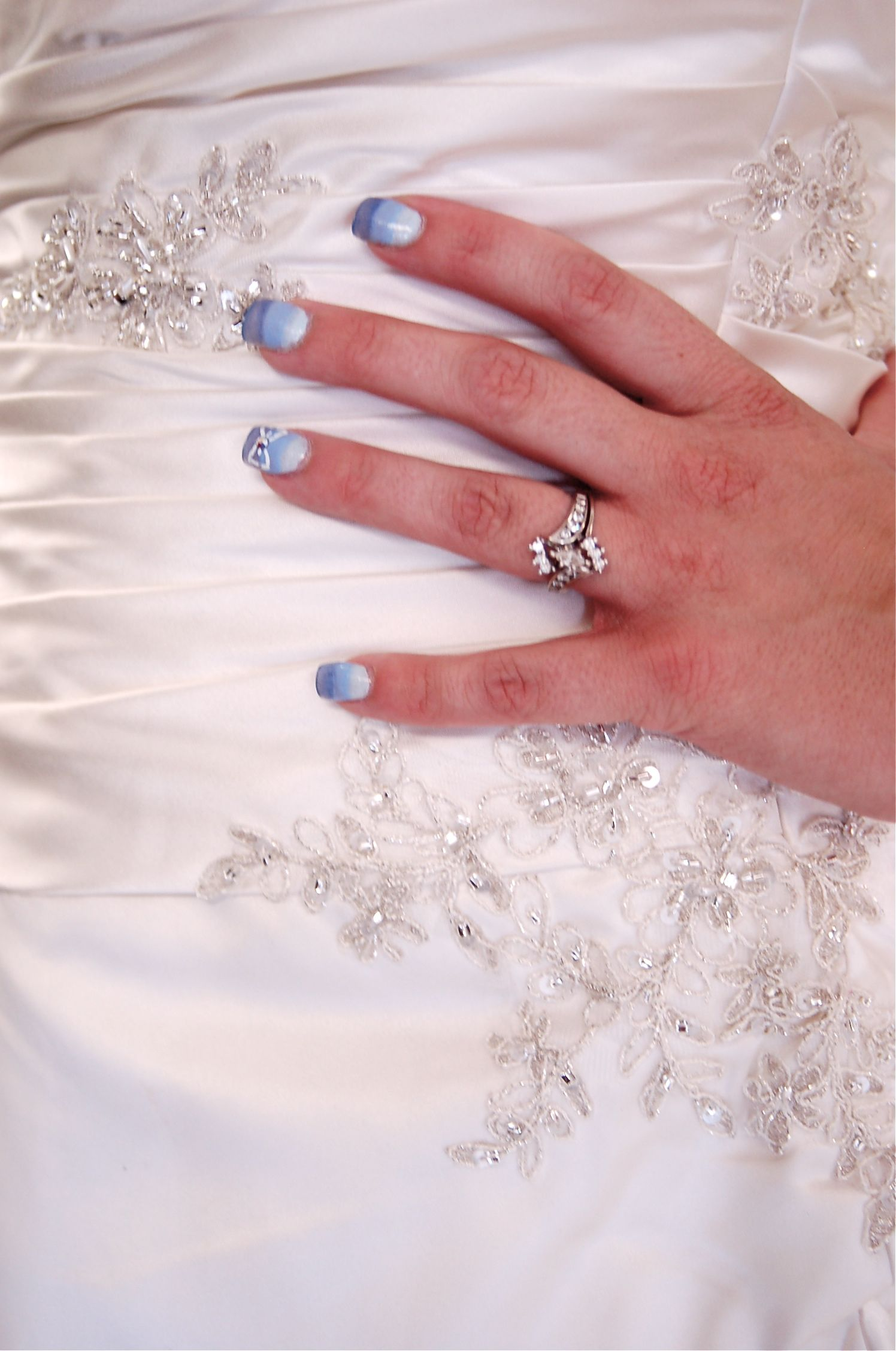 #wedding #nails #ombre #blue #somethingblue #bow # ...