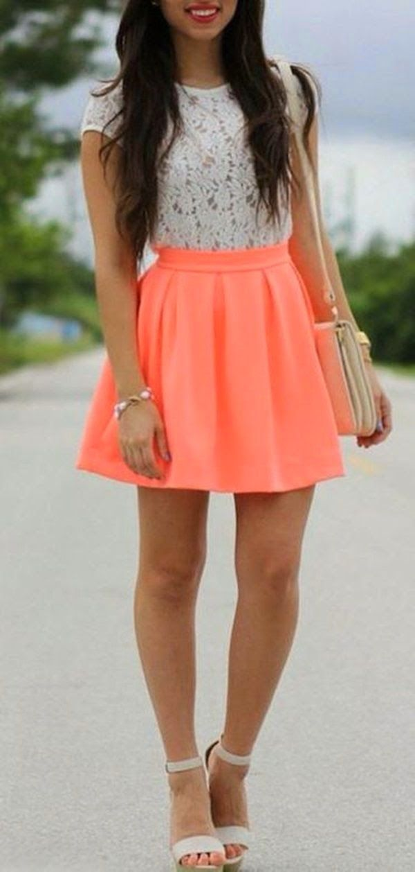 Love this lace top and the pop of neOn!