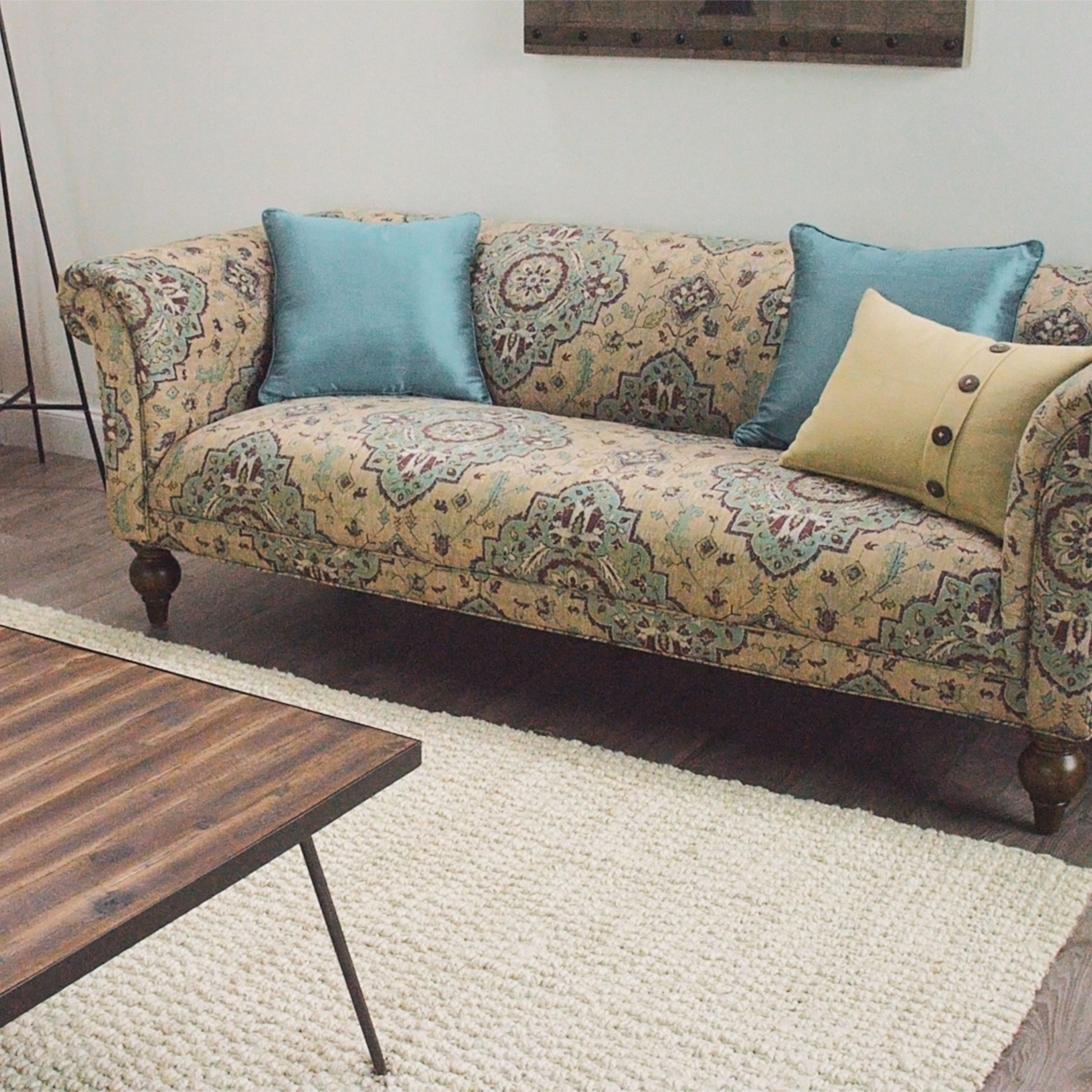 Our Vintage Inspired Sofa Is Upholstered In 100% Polyester Fabric Featuring  A Pattern Inspired
