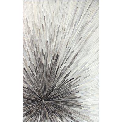 AllModern Berdina Cowhide Handwoven Flatweave Gray Area Rug | Wayfair