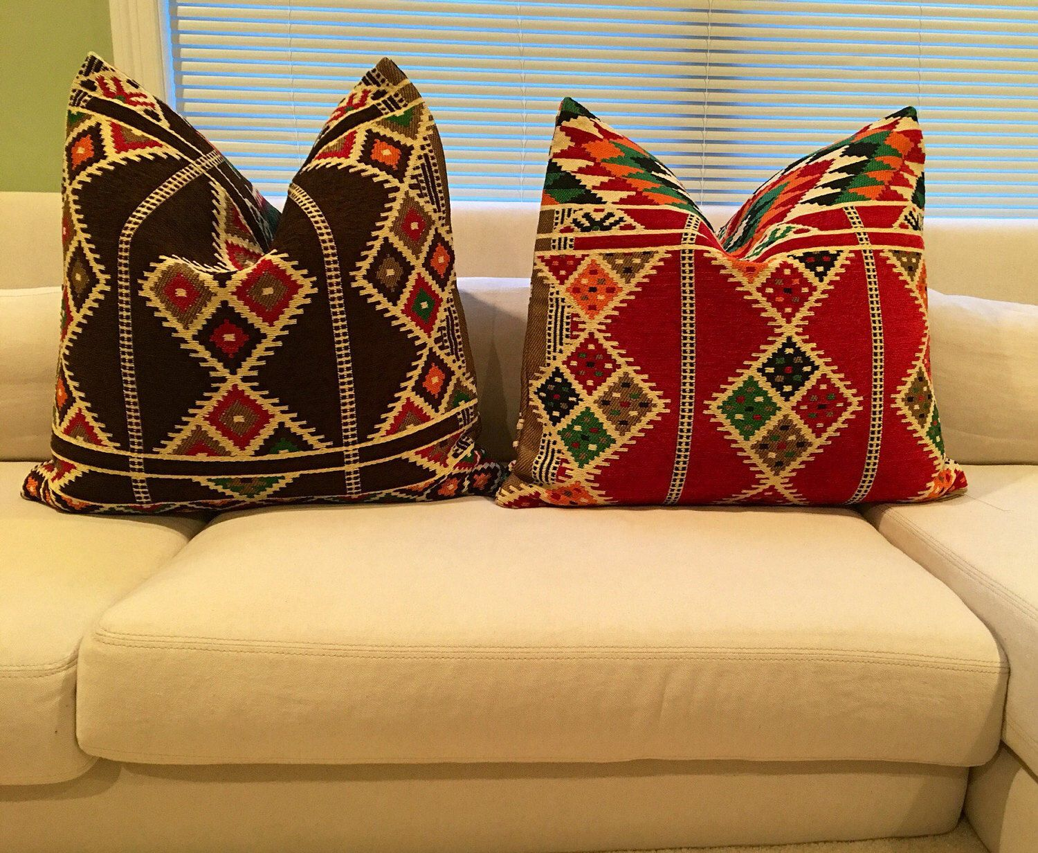 "Kilim with no pillow insert. Size 18x18"" by BaheyaThreads on Etsy ..."